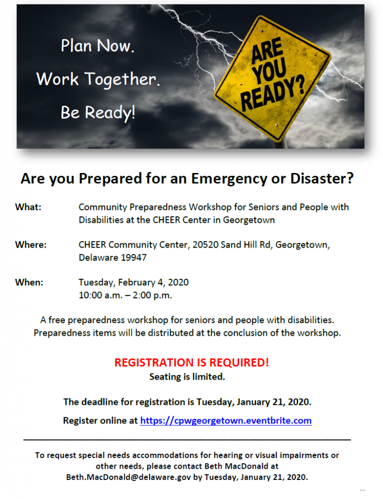 Image of flyer for Community Preparedness Workshop for Seniors and People with Disabilities in Sussex County