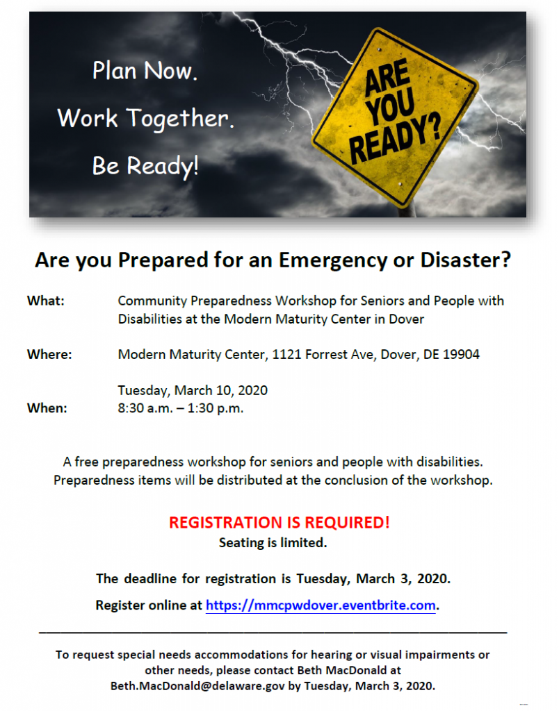 Image of flyer for Community Preparedness Workshop for Seniors and People with Disabilities