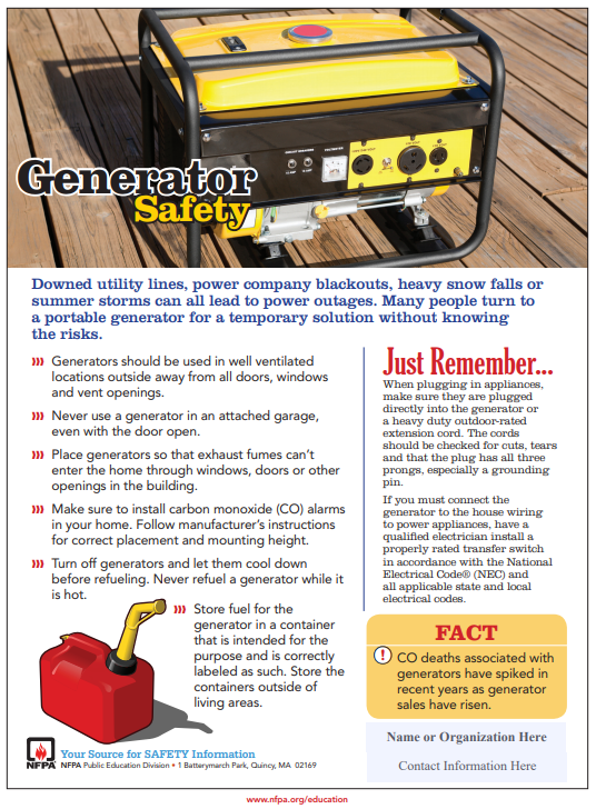 Generator Safety Tips from NFPA