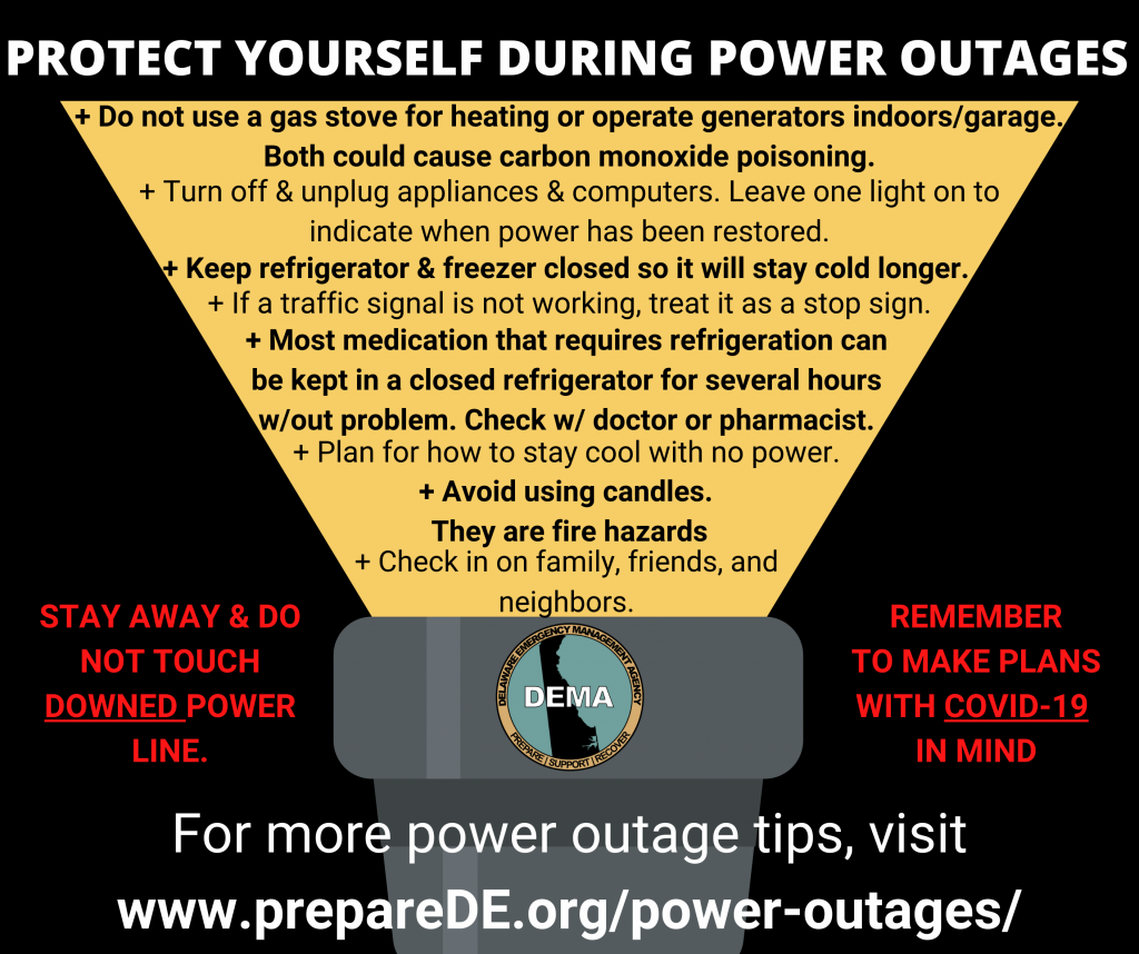Infographic of flashlight with tips to protect self during power outage
